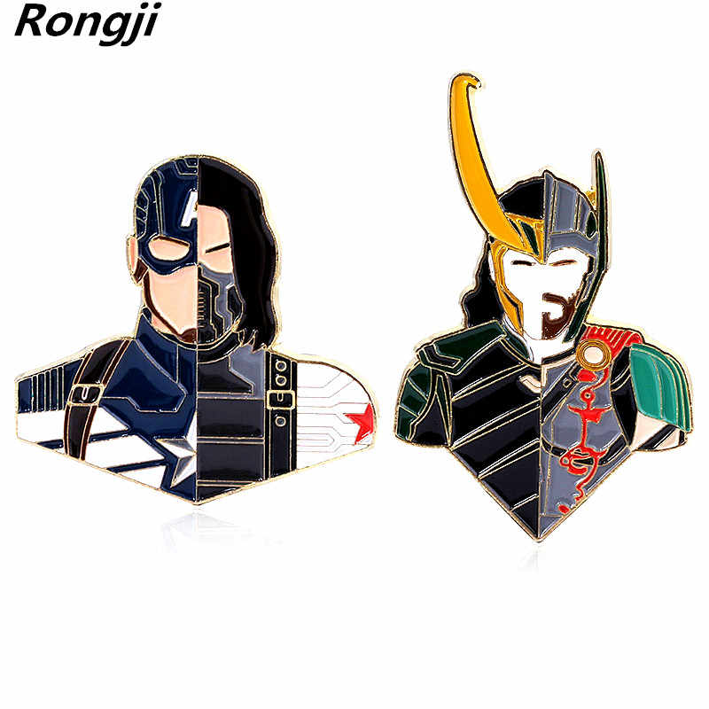 Marvel Avengers Bros Pin Sambatan Kapten Amerika Bucky Barnes Thor Loki CP Lencana Pria Wanita Fashion Perhiasan