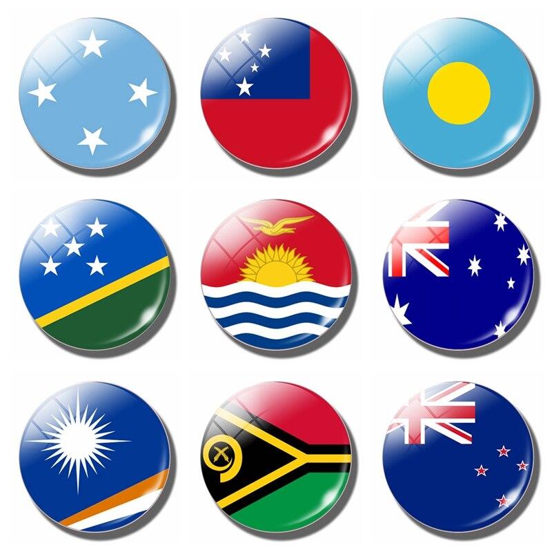 Океания страна магнит для холодильника с флагом стикер холодильника 3 см стекло Австралия Кирибати Соломоновы Острова фиджия Самоа Палау Микронезия