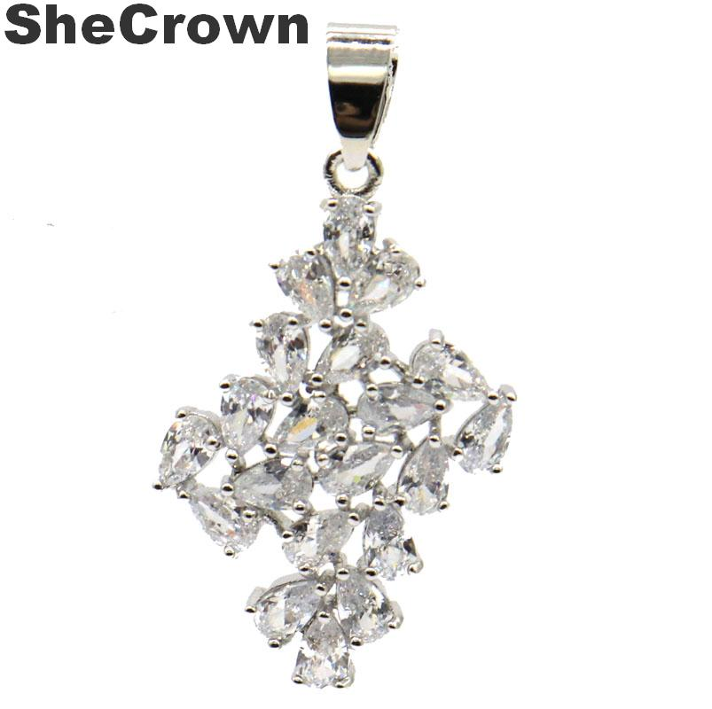40x22mm Luxury SheCrown Created White Sapphire Party Silver Pendant