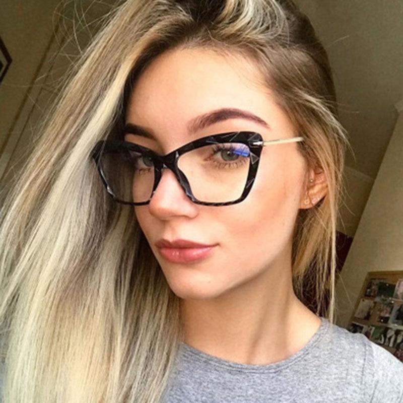 2020 New Transparent Glasses Fashion Women Cat Eye Eyeglasses Frame  Optical Glasse Frame Retro Eyeglasses Computer Glasses