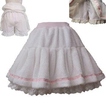 Adult Women Winter Warm Fleece Mini Pleated Pant Skirt Band Waist White Sweet Cute Lolita Skirt Costume For Lady & Preppy Girls 1