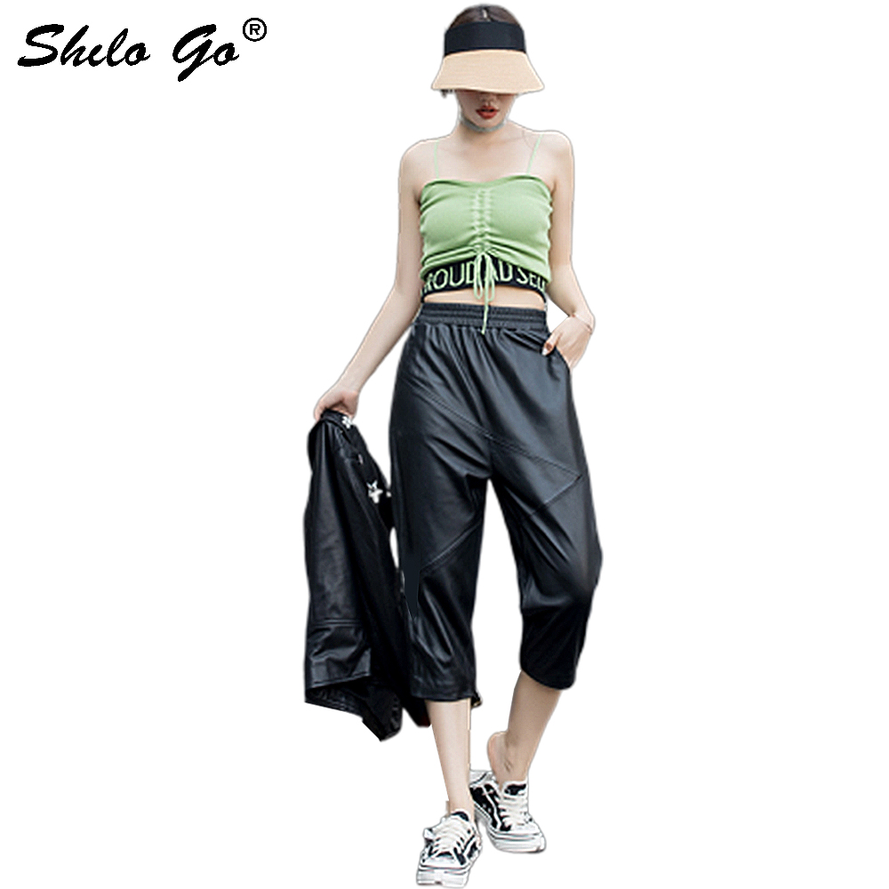 Genuine Leather Pants Black Highstreet Elastic Waist Harem Pants Women Autumn Casual High Waist Loose Calf Length Trousers