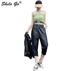 Pantaloni di Cuoio genuino Nero Highstreet Elastico In Vita Pantaloni stile harem Delle Donne di Autunno Casual A Vita Alta Allentato Vitello Pantaloni di Lunghezza