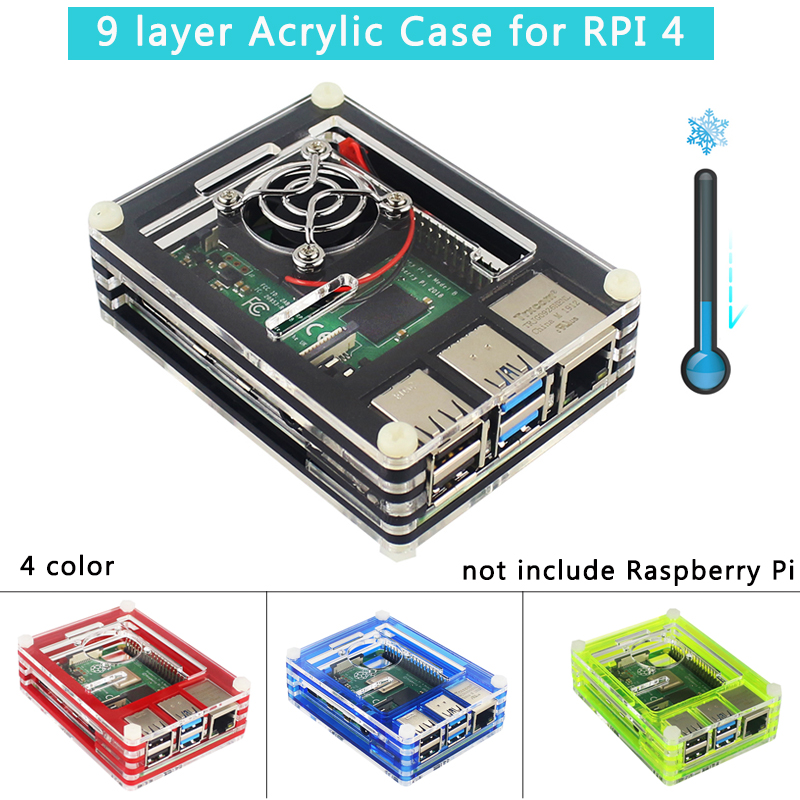 9 Layer Acrylic Case For Raspberry Pi 4 Transparent Box 4 Color Shell With Cooling Fan Protect Cover For Raspberry Pi 4 Model B