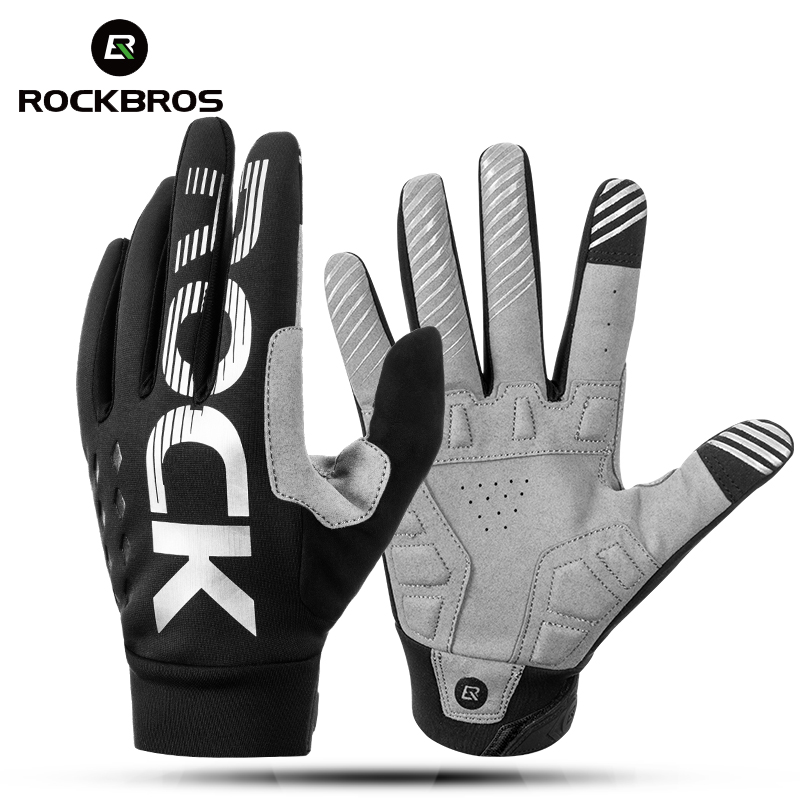 ROCKBROS Cycling Bicycle Gloves Touch Screen Thermal Windproof Bike Gloves Keep Warm Autumn Winter Thick Sport Gloves Equipment