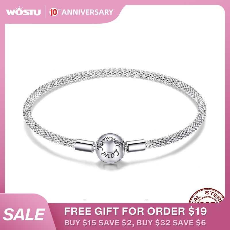 WOSTU wysokiej jakości prawdziwe 925 Sterling Silver zawsze miłość bransoletka dla kobiet Fit oryginalny marka DIY wisiorek z koralikami biżuteria CQB105