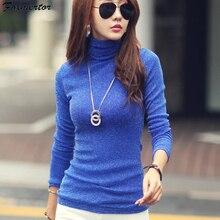 Осень-зима, женская футболка, модная рубашка, однотонная, Женская водолазка с длинным рукавом, яркая проволока, базовый Повседневный Топ, эластичные футболки