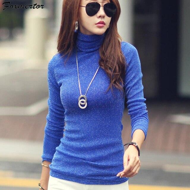 Осенне зимняя женская футболка 2020, модная однотонная женская Водолазка с длинным рукавом, яркие повседневные эластичные футболки