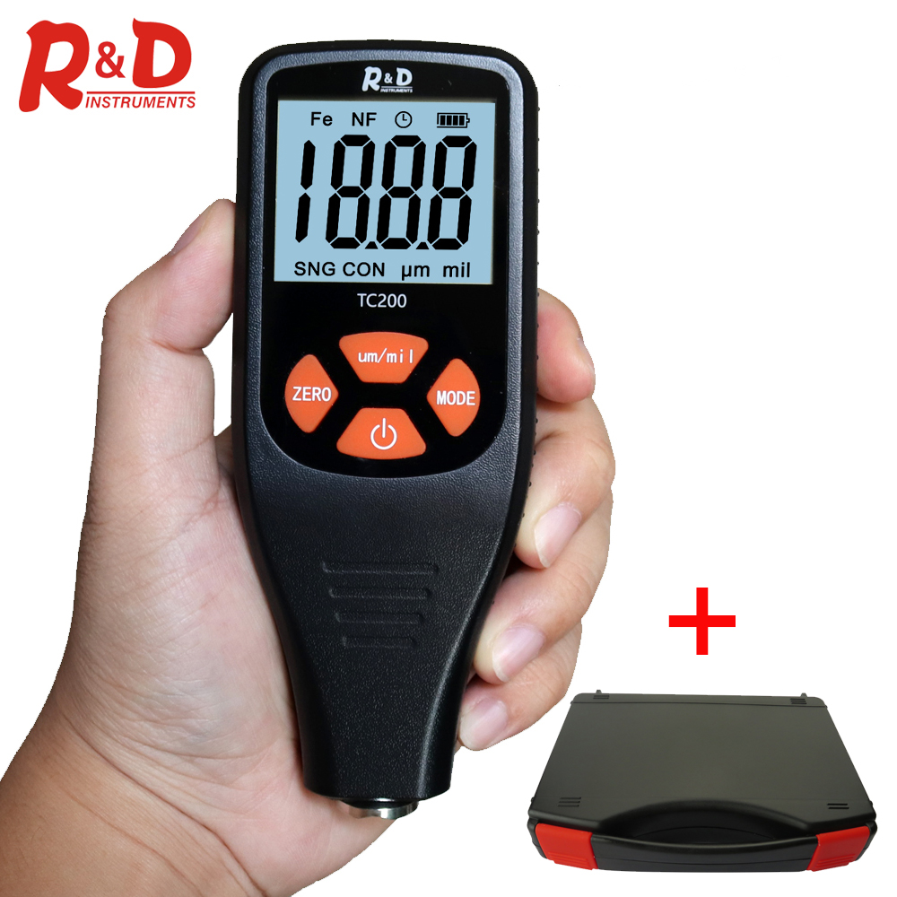 R&D TC200 Car Paint Film Thickness Tester Measuring Coating Thickness Gauge 0.1 Micron/0-1500 FE/NFE Paint Tool With Tool Case