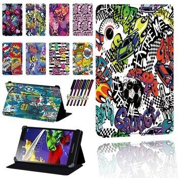 Funda protectora plegable de cuero Pu con diseño de dibujos para tableta Lenovo Tab 2 A7 / A8 / A10-70 / Tab 3 / Tab 4