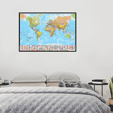 Modern World Political Map Foldable World Map with National Flags Wall Art Painting for Culture Educational Travel Supplies