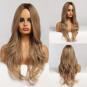 EASIAHIR Long Light Brown Wigs Cosplay Natural Wave Heat Resistant Synthetic for Women Middle Part Hairstyle - discount item  57% OFF Synthetic Hair