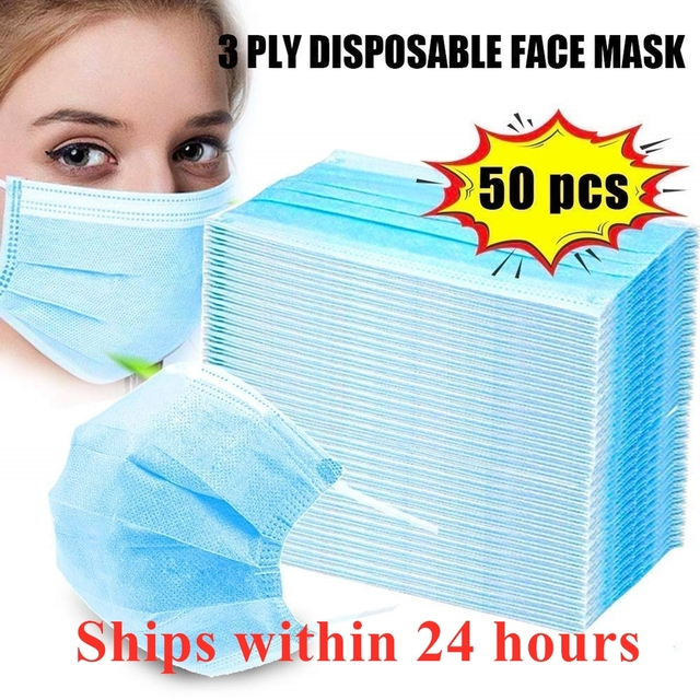 50PCS adult children disposable mouth Nonwoven mask smog Antivirus masks flu 3 Layer Meltblown Ply Filter Mouth Face Mask