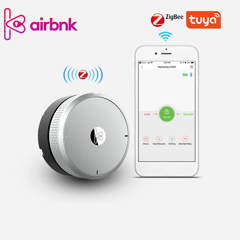 TUYA Smart Lock Cylinder Fingerprint Zigbee Gateway Smart Lock Body Phone Control Door Sensor Keyless Lock Core For Smart Home