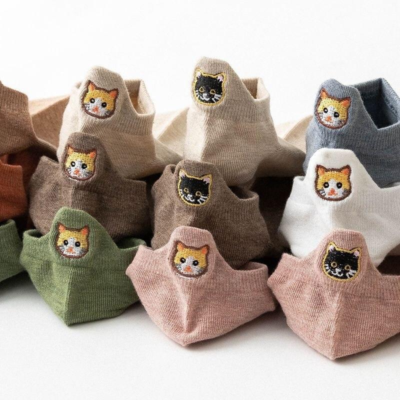 Socks Women Cartoon Cat Socks Cute Animal Kawaii Harajuku Funny Korea  Ankle Cotton Short Socks Girl Female Breathable Dropship