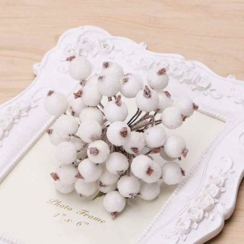 40pcs Christmas Artificial Berry Fake Berry Flowers Vivid Red Holly Berry Wedding Marriage Party Decoration Tool