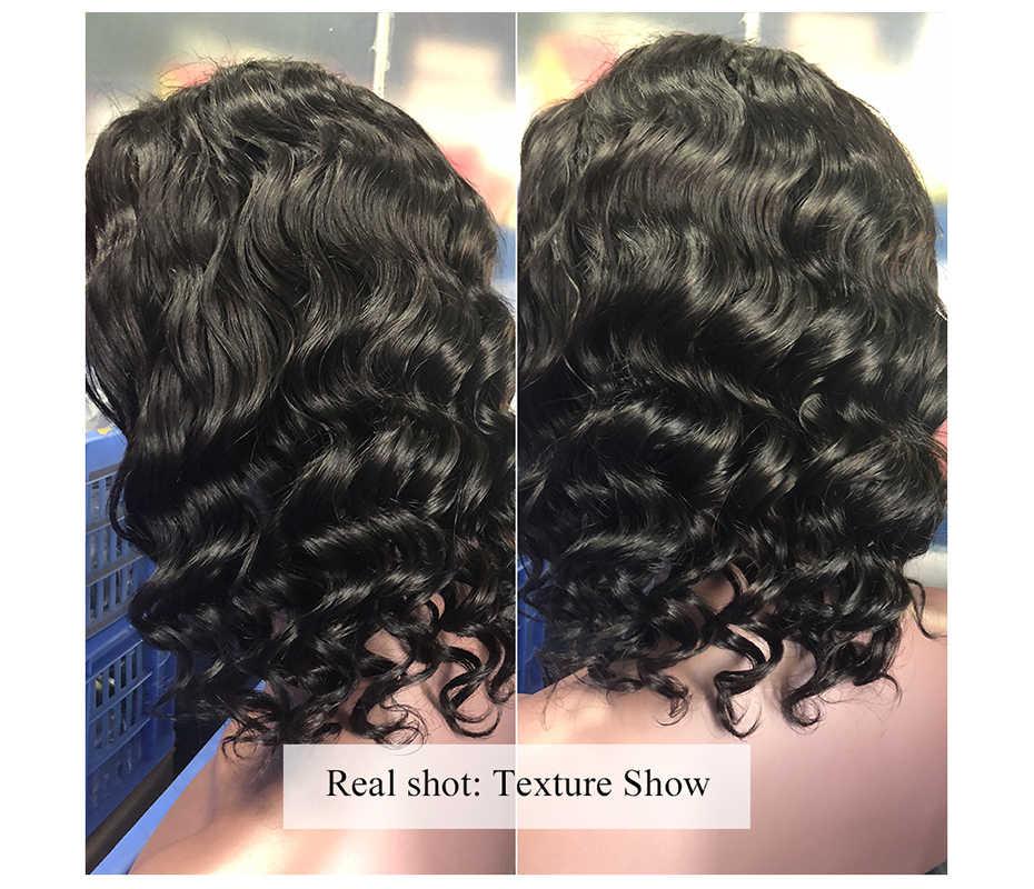 Krótka, koronkowa peruka z ludzkich włosów peruwiański naturalne falowane włosy typu Remy Bob peruka z wstępnie oskubane koronki włosów peruka darmowa wysyłka