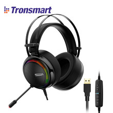 [IN STOCK] Tronsmart Glary Virtual 7.1 Stereo Sound Gaming Headset with Colorful LED Lighting, USB Port for Nintendo Switch/PS4(China)