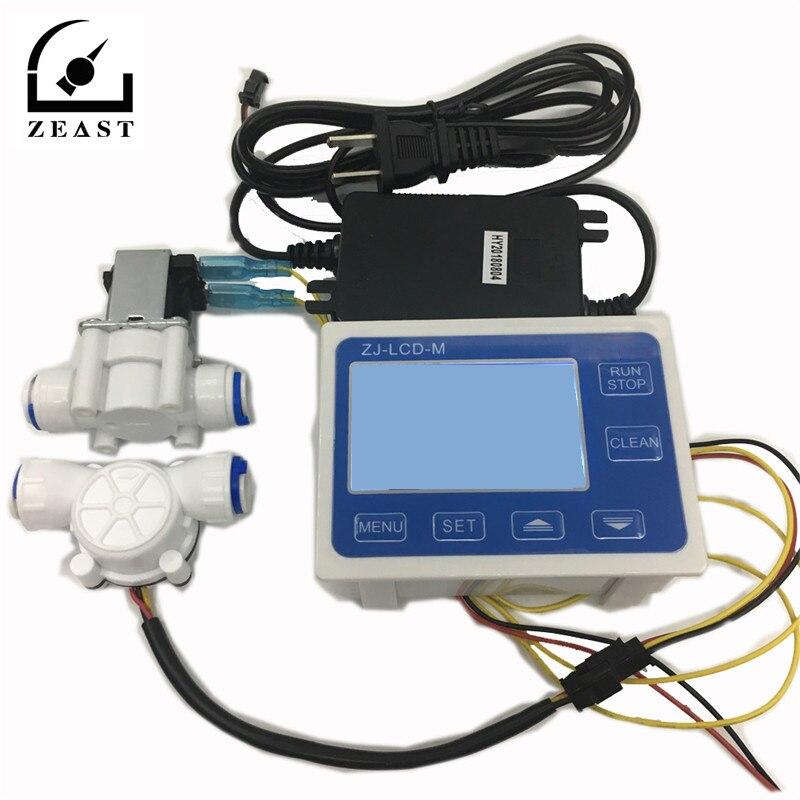 ZEAST 3/8 Flow Sensor+ZJ LCD M Flow Meter Controller + Soleniod Valve + Power Charger LCD Display for Water Liquid Measurement|Flow Meters|Tools - title=