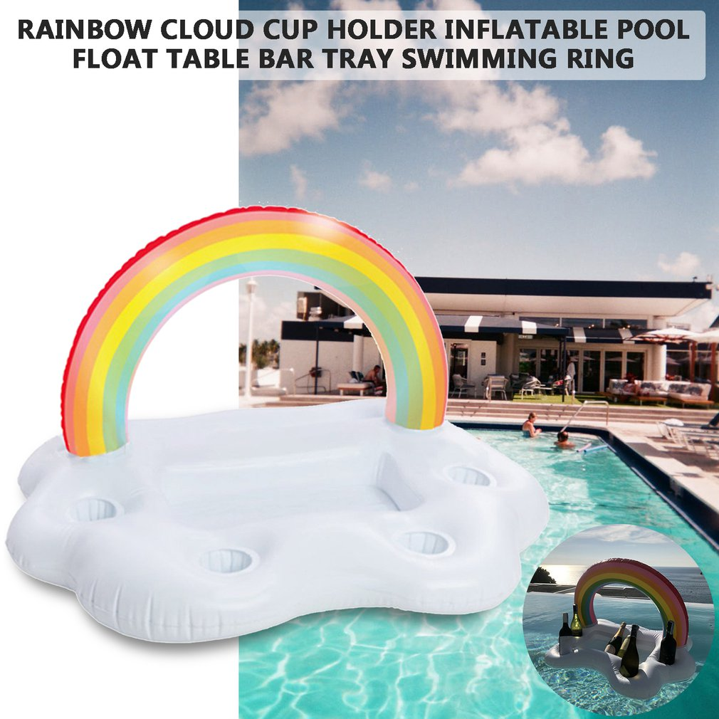 Party Toy Ice Bucket Rainbow Cloud Cup Holder Inflatable Pool Float Beer Drink Cooler Table Bar Tray Beach Island Prop Gonflable