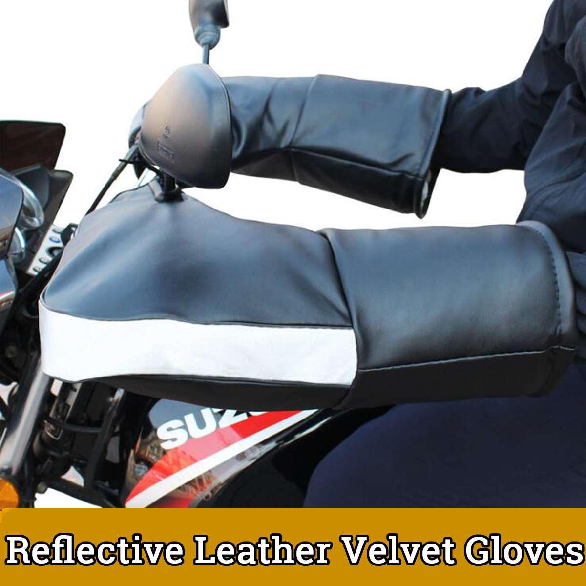 Motorcycle Hand Handlebar Gloves PU Leather Winter Thicken Warmer Motorbike Scooter Handlebar Grip Muffs Waterproof Windproof
