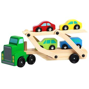 Children Wooden Large Double Deck Transport Vehicle Car Model Toy for Loading Mini Cars Kids Toys