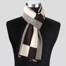 Модные повседневные зимние шарфы, мужской шарф, теплый шейный платок, деловые клетчатые вязаные шарфы, мужские хлопковые шарфы, мужские шарфы