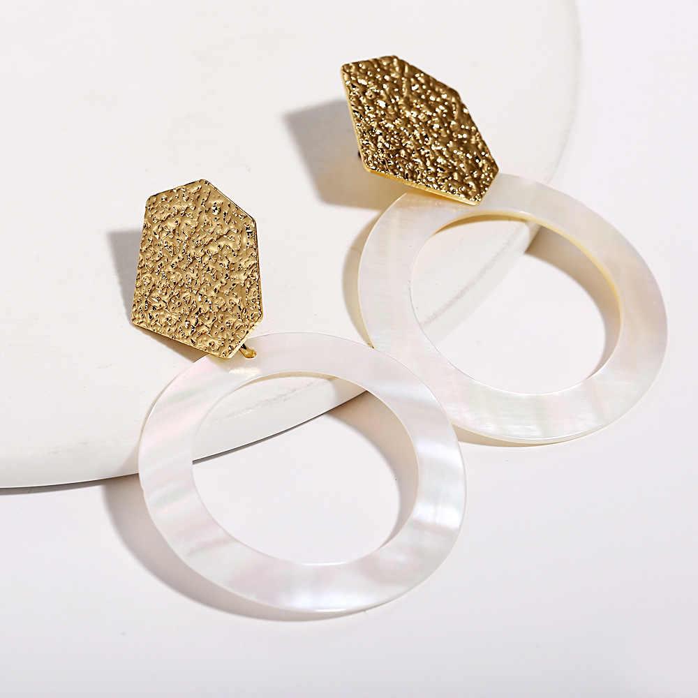 Creative רטרו פשוט אקריליק & מעטפת עגילים לנשים מינימליסטי גיאומטרי Drop חרישת חג המולד מתנת תכשיטים KAE165