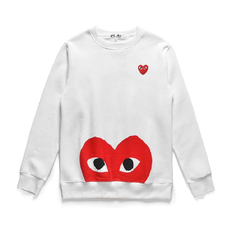 2019 Autumn And Winter Japanese Style New Style Heart Ply Printed Letter Street Casual Pullover Couples Round Neck Fleece Lined