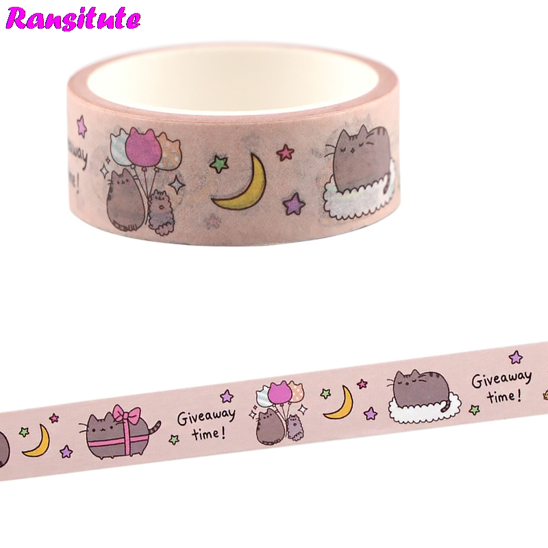 Ransitute Cartoon Cute Cat Color Washi Tape DIY Scrapbook Decoration Masking Decoration Tools Colorful Masking Tape R704