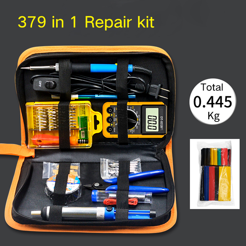 379 In 1 Temperature Adjustable Electric Soldering Iron Tool Kit Desoldering Pump Welding Tips Handle Tool Sets With Multimeter