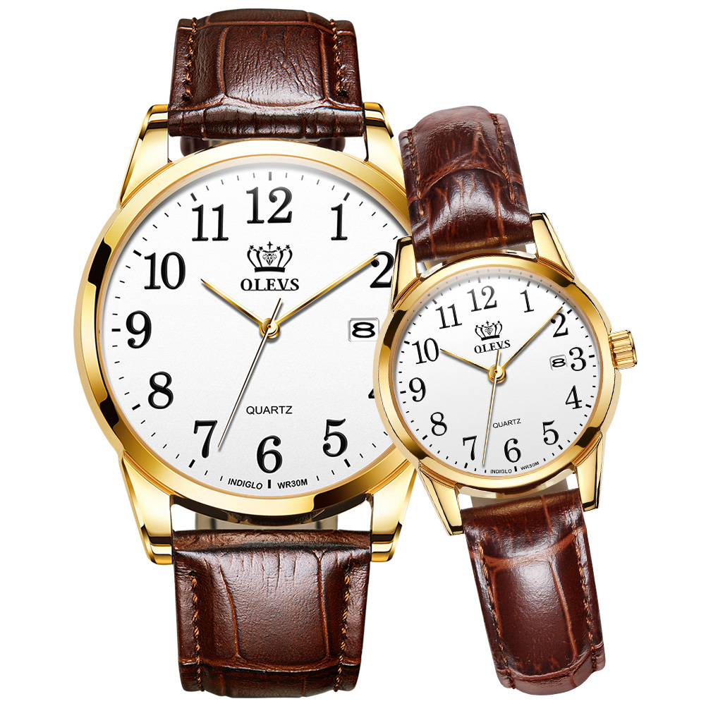 OLEVS 2020 New Fashion Couple Watches Popular Casual Quartz Women Men Wach Lover's Gift Clock Boy Girl Leather Number Wristwatch