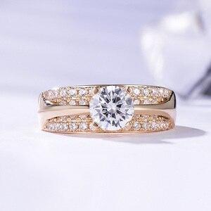 Image 2 - Kuololit 10K 14K Geel Goud 100% Natuurlijke Moissanite Edelsteen Ringen Voor Vrouwen Handgemaakte Ringen Engagement Bruid Gift Fijne sieraden