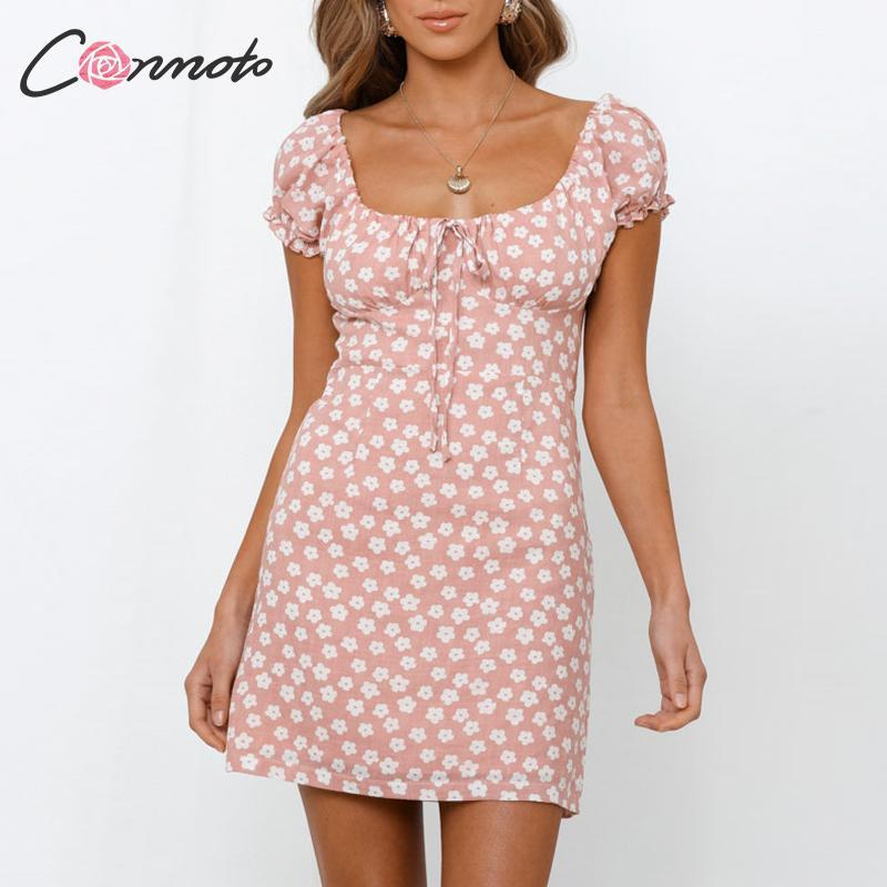 Conmoto Ruffles Twist Short Dress Party Dress Women Floral Lace Up Ladies Autumn Winter Dress Vintage Puff Dresses Vestidos