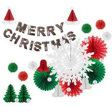 Christmas Decoration Set Merry  Banner Festival Xmas Tree Santa Hats Claus Gift Green and Red