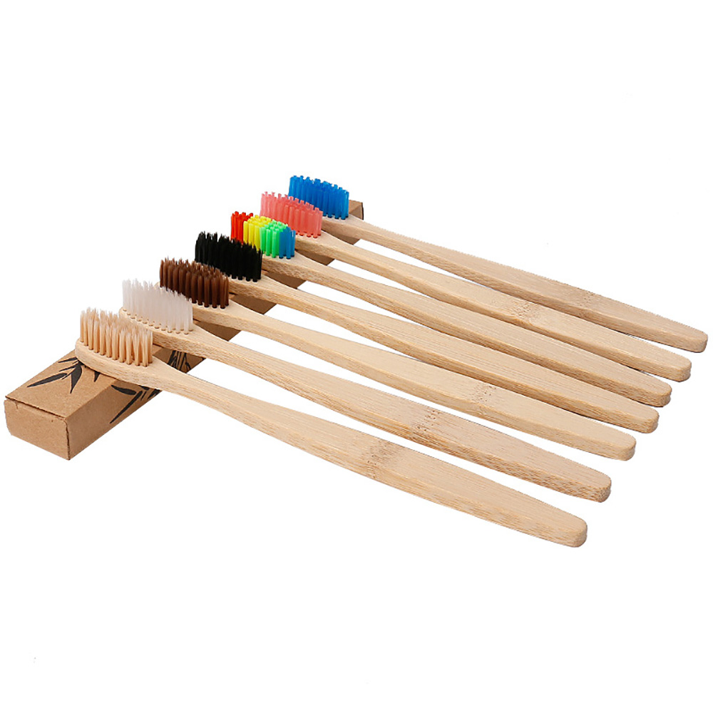 5Pcs Wooden Tooth Brush Oral Portable Soft Hair Bamboo Toothbrush Bamboo-Charcoal Toothbrush Soft Bristle Wooden Tooth Brush image