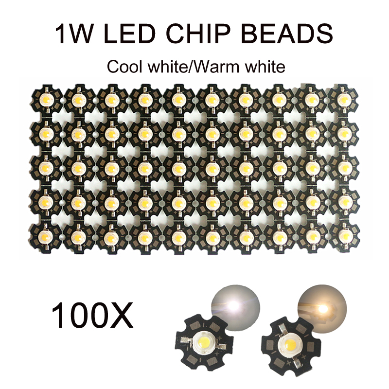 100pcs LED Diodes Chip COB Warm White Beads Lights SMD Bulb Lamp Round 1W Cool White Lot Wholesale With Star PCB High Power|Light Beads| |  - title=