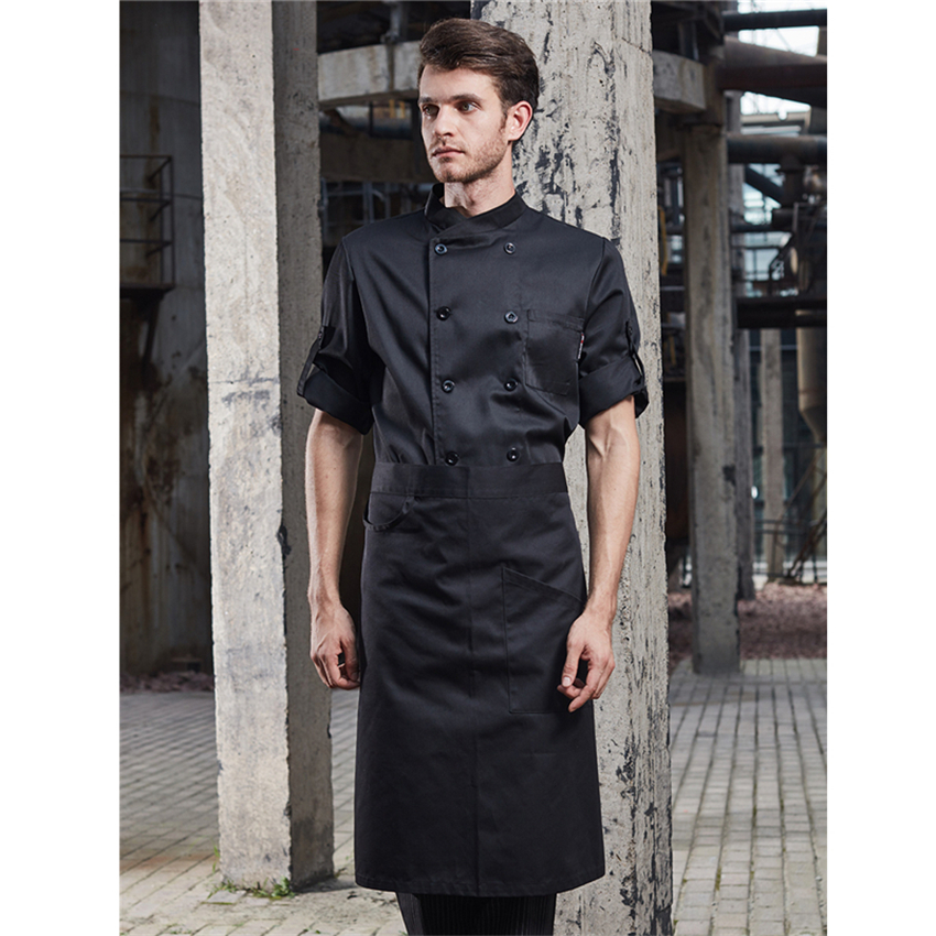 Unisex Restaurant Kitchen Chef Uniformance Double Breasted Adjustable Sleeve Cook Bakery Catering Waiter Jacket With Apron
