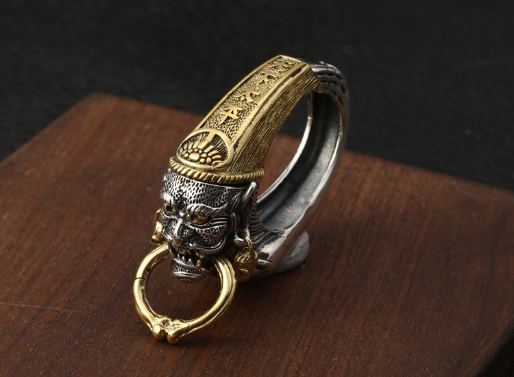 Keychain Key-Ring 925-Sterling-Silver Men Biker-Impermanence Retro A5054