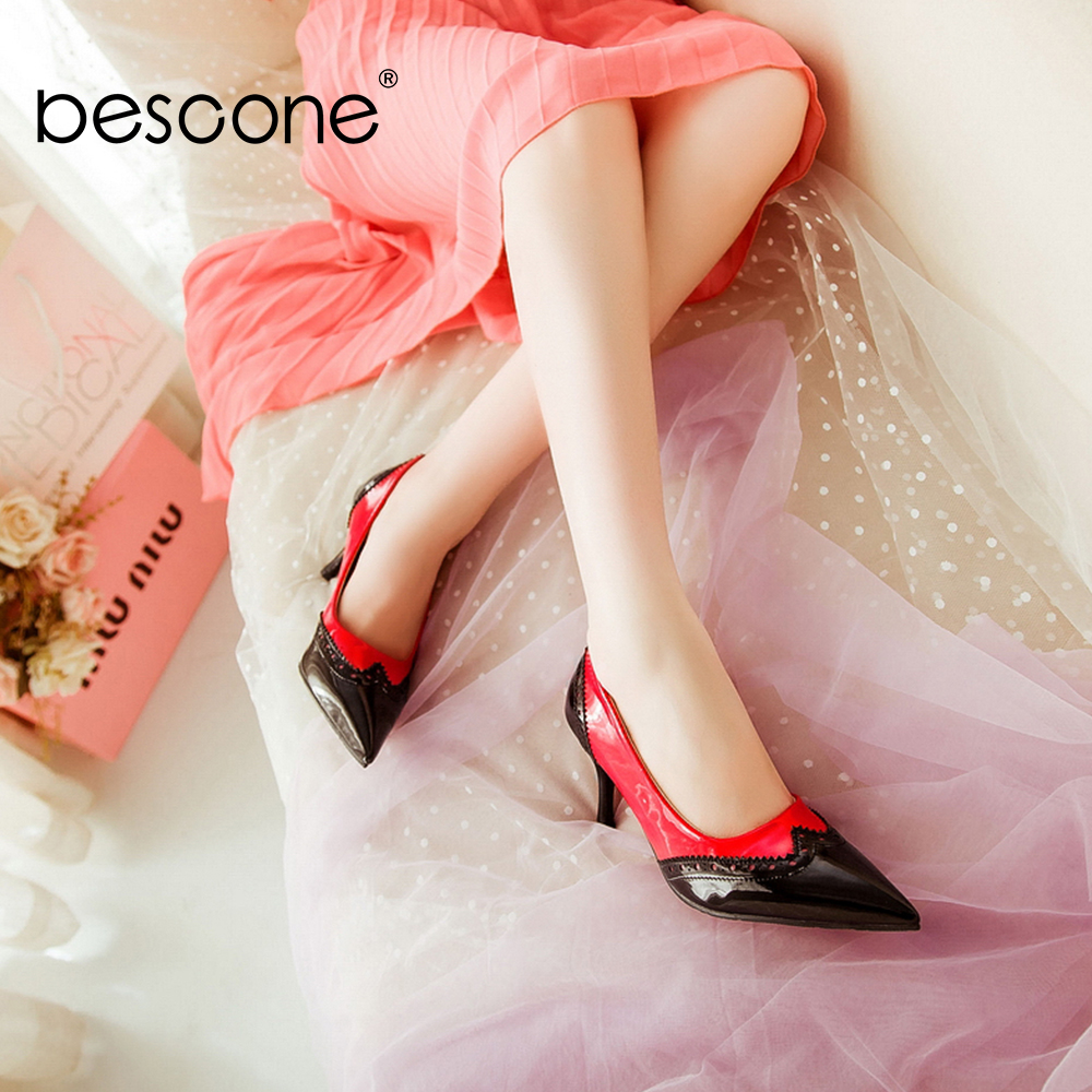 Image 2 - BESCONE Sexy Pointed Toe Ladies Pumps High Quality Patent Leather Shallow Thin Heel Shoes New Fashion Dress Women Pumps BM297Womens Pumps   -