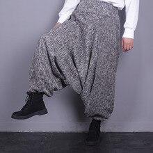 אביב ובסתיו פשתן Loose גדול גודל מזדמן מכנסיים Elestic מותן הרמון באורך קרסול מכנסיים אישה