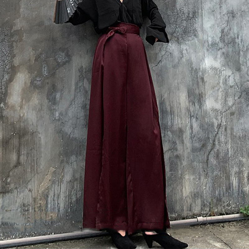 LANMREM Wine Red High Waist Tie Side Slit Loose Plus Woman Wide Leg Trousers Casual Wild Simple Fashion 2019 Autumn New TV933