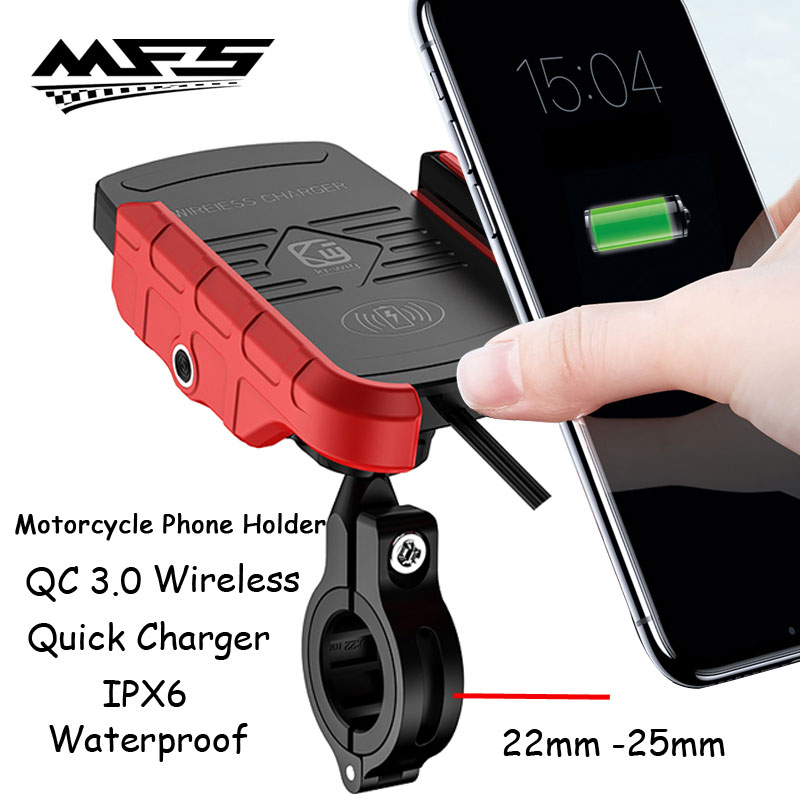 Motorcycle Phone Holder Qi Wireless Charger Fast Charge 4-6.5
