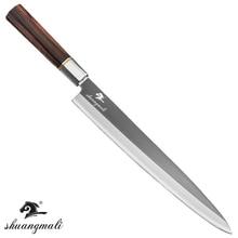 Cuchillo Sashimi de 12 pulgadas, cuchillos japoneses Yanagiba de salmón, herramienta de Sushi, acero inoxidable 5CR15 con mango de ébano