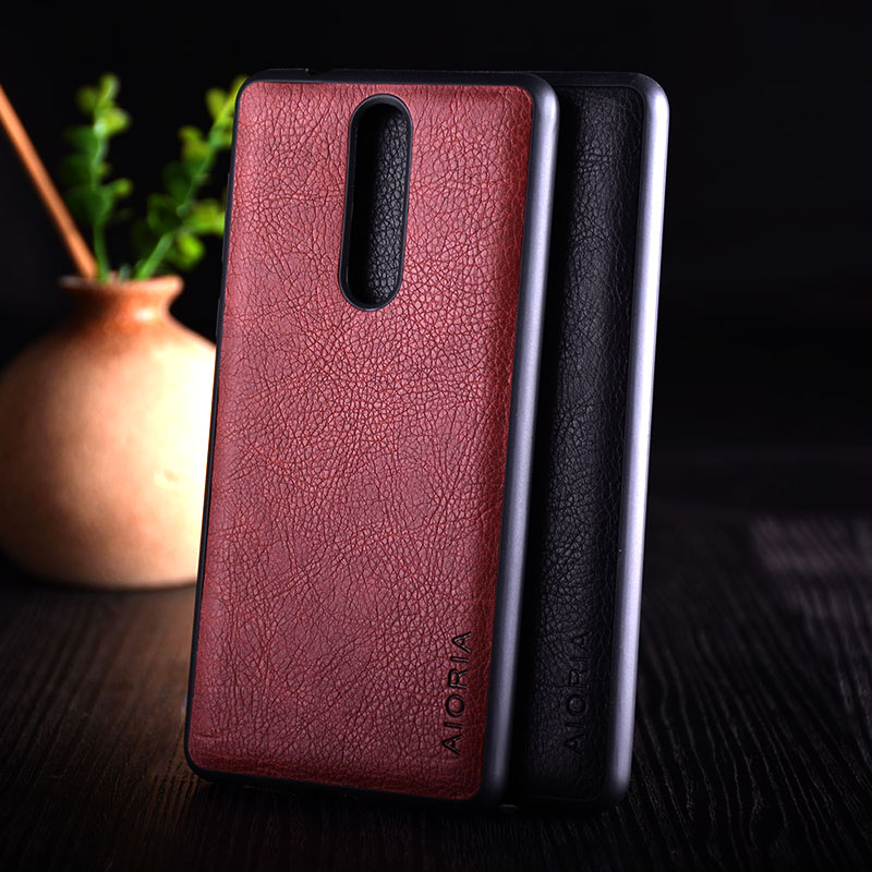 Case for Nokia 3 5 8 funda luxury Vintage Leather Litchi skin with silicone cover case coque capa