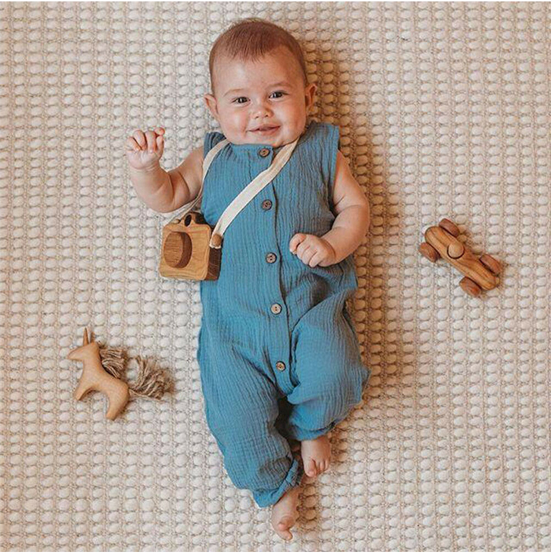 Hot Newborn Toddler Kids Baby Girls Boys Solid Button Romper Jumpsuit Outfits Summer Casual Fashion Clothe
