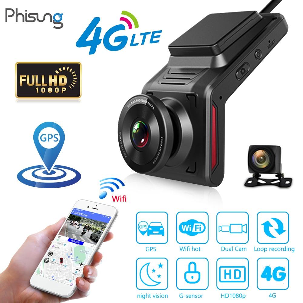 """Phisung k18 4g wifi câmera do carro dvr 2.0 """"fhd 1080p gps dashcam com câmera de visão traseira lente dupla gravador vídeo registrador traço cam"""