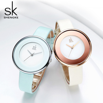 Shengke Fashion Leather Women's Watches Top Brand Luxury SK Ultra Thin Ladies Leather strap Clock Reloj Mujer image