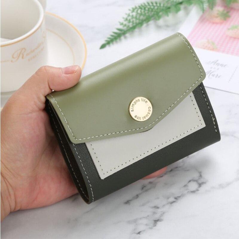 New Leather Women Wallet Small Cute Purse Short Coin Card Holder Patchwork Procket Women Clutch Wallets Ladies Designer Purses