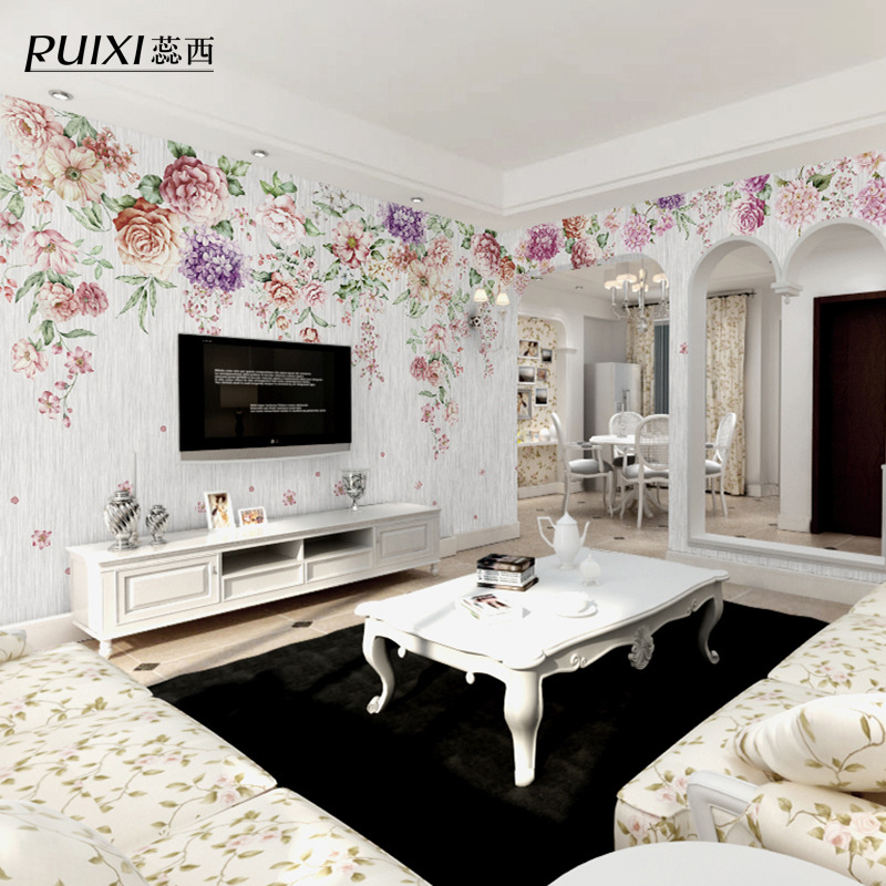 European Countryside Wallpaper Rose Retro Art Plain Color Wall Cloth Living Room Television Background Wall Wallpaper Mural